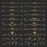 Satz goldene dekorative kalligraphische Elemente für Dekoration. Handgemachte Vektor-Illustration.