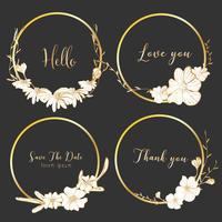 Satz runde Rahmen der Teiler, Hand gezeichnete Blumen, botanische Zusammensetzung, dekoratives Element für Hochzeitskarte, Einladungs-Vektorillustration. vektor