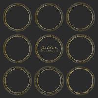 Satz goldene runde Rahmen für Dekoration, dekorative runde Rahmen. Vektor-illustration
