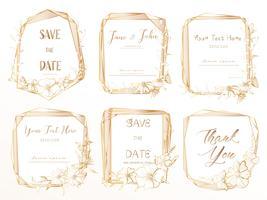 Set med geometrisk ram, Handdragen blommor, Botanisk komposition, Dekorativt element för bröllopskort, Inbjudningar Vektor illustration.