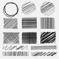 Vektor uppsättning linjer grunge borstar texturer. Handgjord vektorillustration.
