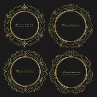 Satz dekorative runde Rahmenweinleseart. Vektor-illustration