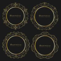 Set av dekorativa runda ramar vintage stil. Vektor illustration.
