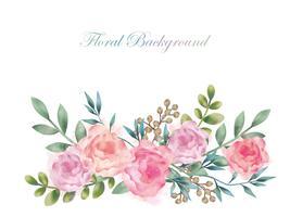 Aquarellblumen-Hintergrundillustration mit dem Textraum lokalisiert auf einem weißen Hintergrund. vektor