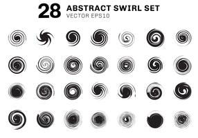 Satz abstrakte schwarze Spiralen und Strudelbewegungselementsammlung auf weißem Hintergrund. Sie können für Ikonen, Bestandteilbroschüre, Plakat, Flieger, Broschüre, Fahnenweb, etc. verwenden