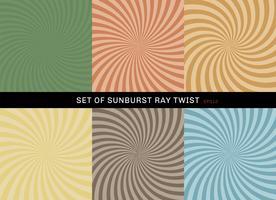 Satz Starburst-Torsionshintergrundretrostil. Sammlung abstrakter Sonnendurchbruchstrahlradialgrün, gelb, blau, braun, orange, Hintergründe.