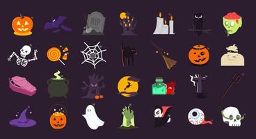 Halloween illustration ikoner bunt set