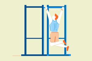 Gym fitness träning platt illustration