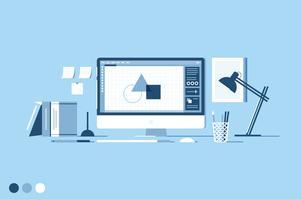 Designer-Arbeitsbereich-Vektor-Illustration