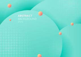 Abstrakt 3D flytande vätskekretsar grön mint, rosa pasteller färg vacker bakgrund med halvtonstruktur. vektor