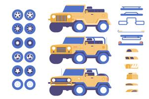 Jeep fordon delar anpassning mod illustration set