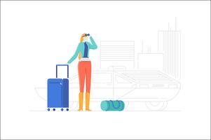 Människor karaktär bagage illustration vektor