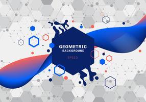 Abstrakte Zusammensetzung von geometrischen Formen und von blauen und orange Hexagonmustermolekül des Spritzens mit der flüssigen Steigungsfarbe, die auf weißen Hintergrund fließt. Elemente für moderne Kommunikations-, Medizin-, Wissenschafts- und Digital
