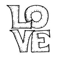 Älska handskriven bokstäver designtext vektor