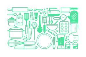 Platt matlagningsverktyg satser bunt vektor