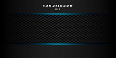 Mall abstrakt teknik stil metallisk blå blank färg svart ram layout modern tech design kolfi fiber bakgrund och textur. vektor