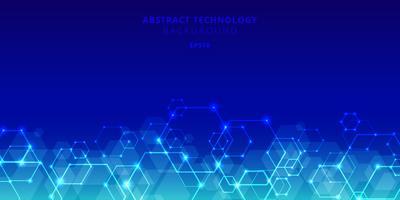 Sammanfattning teknik hexagons genetiska och sociala nätverk mönster på blå bakgrund. Framtida geometriska mallelement hexagon med glödnoder. Företagspresentation för din design med plats för text