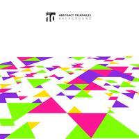 Abstrakte moderne bunte Dreieckmuster-Elementperspektive auf weißem Hintergrund mit Kopienraum.