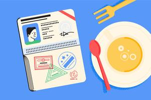 Passport rese essentials illustration set vektor