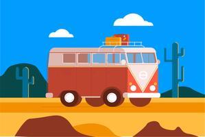 Reisemobil-Wüstenillustrationshintergrund