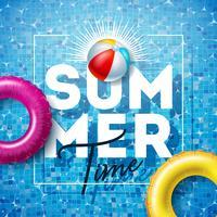 Sommartid Illustration med flottör och strandboll på vatten i kaklat poolbakgrund. Vektor sommar semester design mall