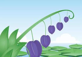 Lila blomma och Lotus löv Vector Bakgrund
