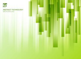 Abstrakt natur vertikala överlapp geometriska rutor form grön naturlig färg på vit bakgrund med kopia utrymme.