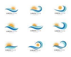 Wasserwellen- und Sonnenikonenvektor-Illustrationsdesign