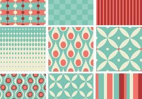 Blaugrün und Korallen Retro Muster Pack vektor