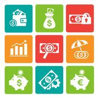 Finanz- und Bankwesenikonen eingestellt vektor