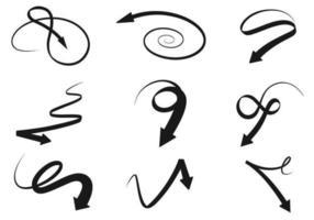 Schwarzer Swirly-Pfeil-Vektor-Satz vektor