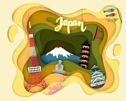 Papierschnittdesign der touristischen Reise Japan vektor