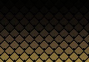 Abstrakter Goldfarbsparren zeichnet Muster auf schwarzem Hintergrund. Geometrisches Maßwerk.