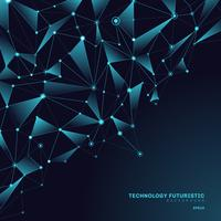 Abstrakta trianglar polygonala former på mörkblå bakgrund bestående av linjer och punkter i form av planeter och konstellationer teknik begrepp. Digital internetanslutning.