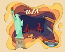 Papierschnittdesign der touristischen Reise USA vektor