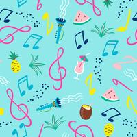 Nahtloses Muster mit Musiknoten, Instrumenten und Sommersymbolen. Vektor