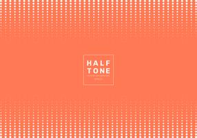 Abstrakt av vit prickmönster halvtons designkoncept apelsin bakgrund med platsfot text. Dekoration webbplats layout huvud och sidfot och broschyr, affisch, banner webb, kort, etc.