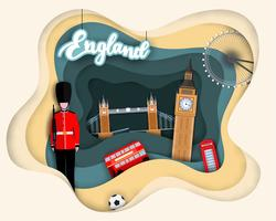 Papierschnittdesign der touristischen Reise England vektor