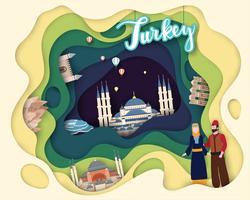 Papierschnittdesign von Tourist Travel vektor