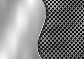 Abstrakter silberner Metallhintergrund gemacht von der Hexagonmusterbeschaffenheit mit Kurvenblech. Geometrisches Schwarzweiss.