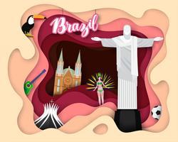 Papierschnittdesign der touristischen Reise Brasilien vektor