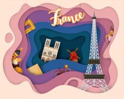 Papierschnittdesign der touristischen Reise Frankreich