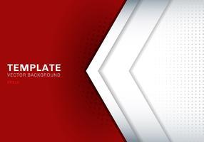 Weißer Pfeil der Schablone, der mit Schatten auf rotem Hintergrundraum für Text- und Mitteilungsgrafikdesign-Technologiekonzept überschneidet.