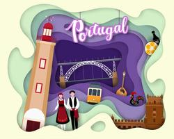 Papierschnittdesign der touristischen Reise Portugal vektor
