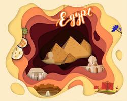 Papierschnittdesign der touristischen Reise Ägypten vektor