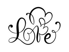 Älska kalligrafisk vektortext med romantiska hjärtan. Handskriven bläckbokstäver valentinkoncept. Modern pensel kalligrafi, Isolerad på vit bakgrund