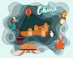 Papierschnittdesign der touristischen Reise China vektor