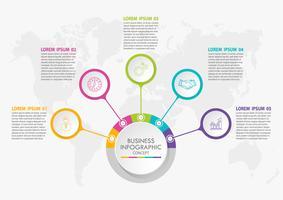 Företagsdatavisualisering. Tidslinje infografiska ikoner avsedda för abstrakt bakgrundsmall