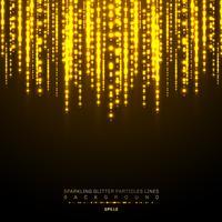 Gold beleuchtet glänzende vertikale Linie Funkelnfeiertagsfestival auf dunklem Hintergrund. Glänzendes Lichtmuster des goldenen Weihnachtskonfettis. Magischer Regen von funkelnden Glitzerpartikellinien
