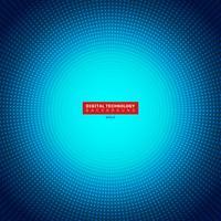 Futuristischer blauer Neonradiallichtexplosionseffekt des digitalen Konzeptes der Technologie auf dunklen Hintergrund. Punktmusterelemente kreist Halbtonart ein.